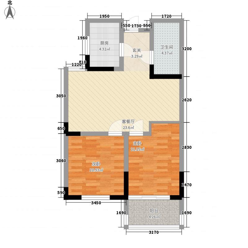 国盛金海滩9号85.80㎡B户型2室2厅1卫1厨