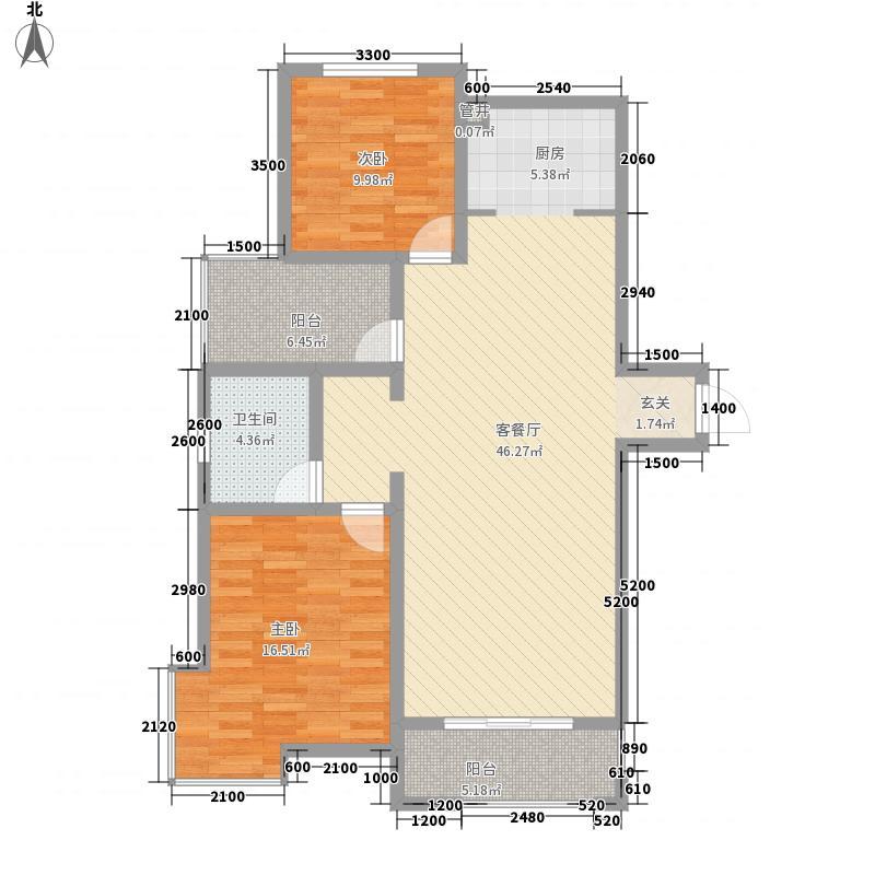 金山・名御苑11.83㎡1#楼A户型2室2厅1卫1厨