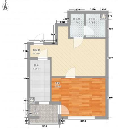 百子湾西里1室0厅1卫1厨59.00㎡户型图