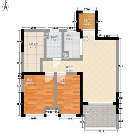 优活华庭2室1厅1卫1厨89.00㎡户型图