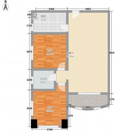 静安国际广场公寓2室1厅1卫1厨115.00㎡户型图