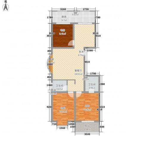 龙昌彩虹风景3室1厅2卫1厨130.00㎡户型图