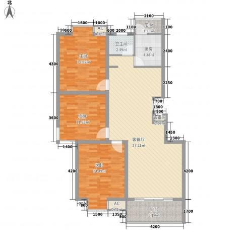 明通家园3室1厅1卫1厨133.00㎡户型图