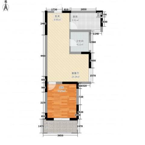 隆昊昊博园1室1厅1卫1厨65.00㎡户型图