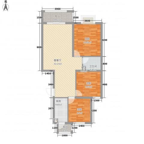 凤凰新城3室1厅1卫1厨107.00㎡户型图