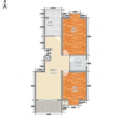 明通家园2室1厅1卫1厨116.00㎡户型图