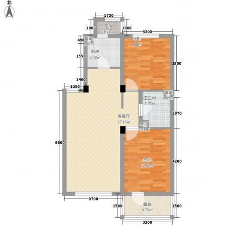 水晶恋城2室1厅1卫1厨77.00㎡户型图