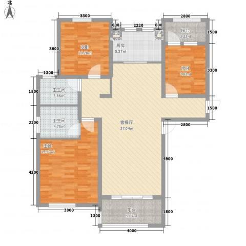 德仁・翡翠城3室1厅2卫1厨138.00㎡户型图