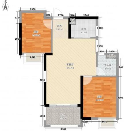 汉港凯旋城2室1厅1卫1厨88.00㎡户型图