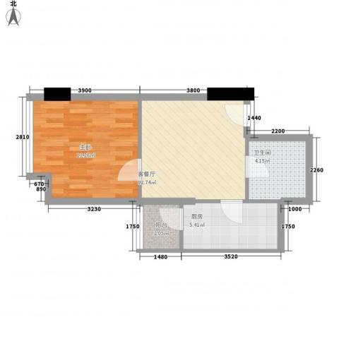 金东中环城1室1厅1卫1厨41.61㎡户型图