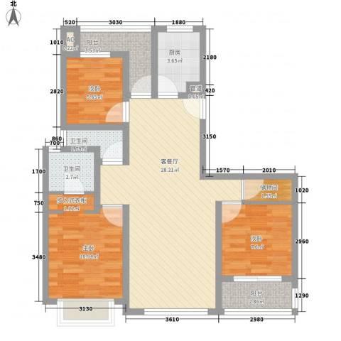 中邦城市3室1厅2卫1厨81.86㎡户型图