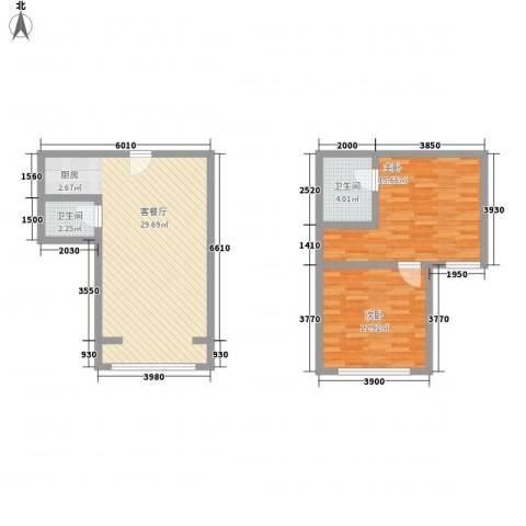 菁英汇2室1厅2卫0厨92.00㎡户型图