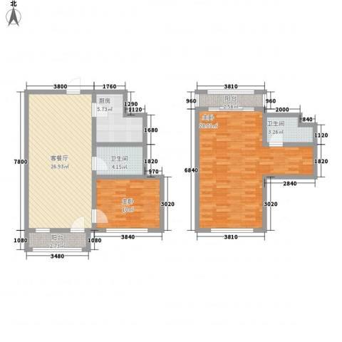 菁英汇2室1厅2卫1厨121.00㎡户型图
