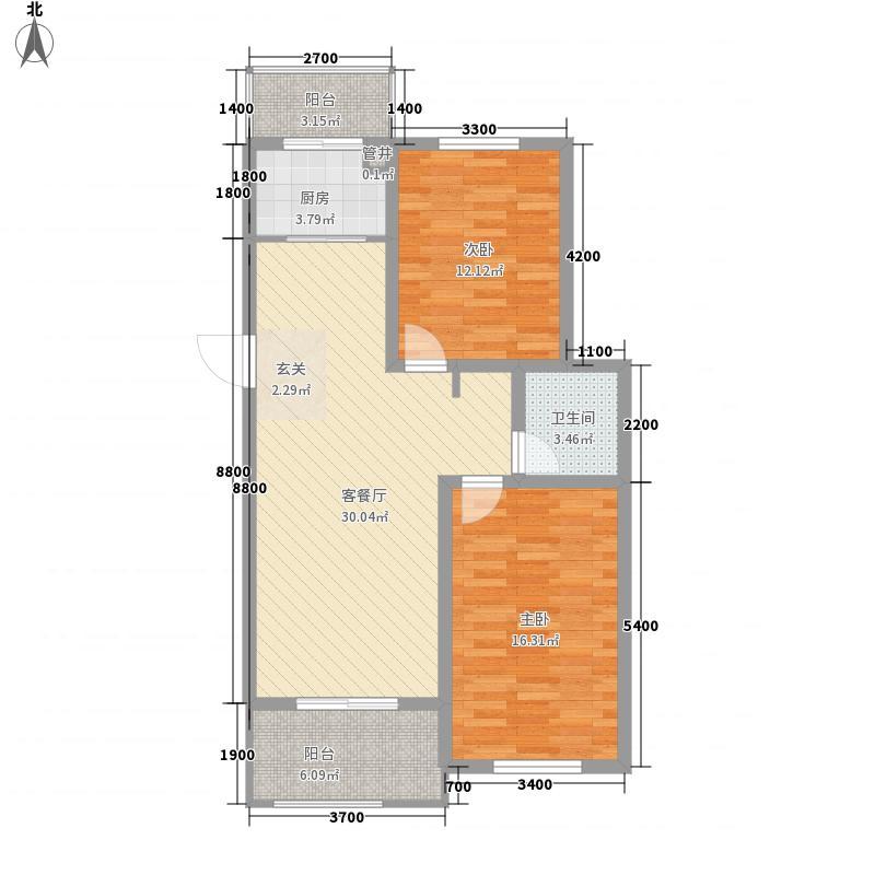 金山・名御苑6.64㎡3#楼B户型2室2厅1卫1厨