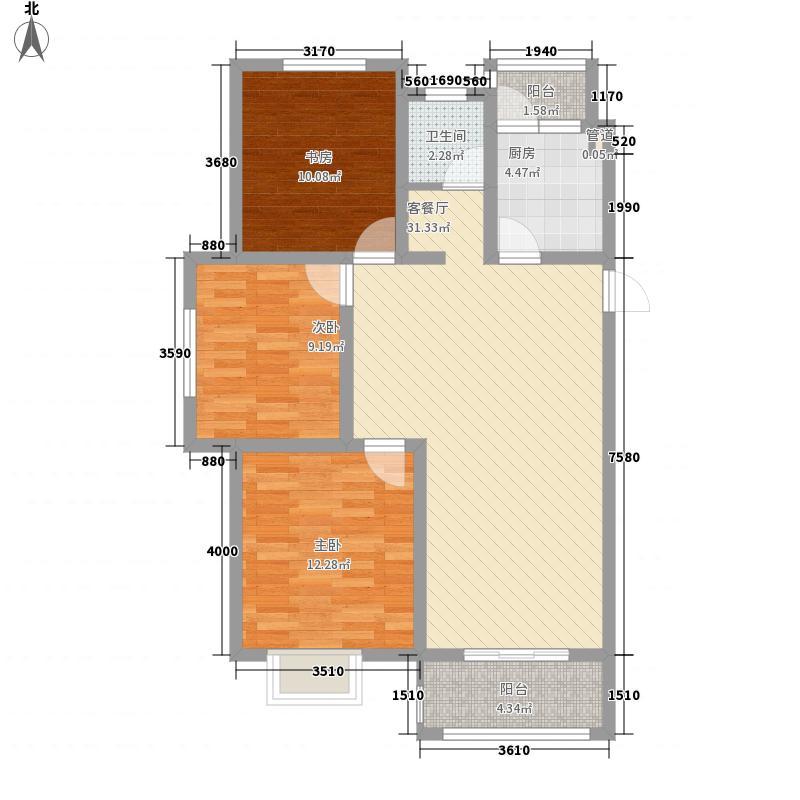东城名邸109.13㎡东城名邸B3室2厅1卫1厨109.13㎡户型3室2厅1卫1厨