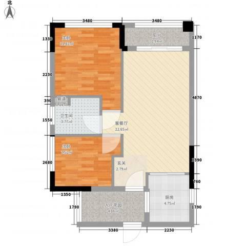 翡翠绿洲龙翔台2室1厅1卫1厨84.00㎡户型图