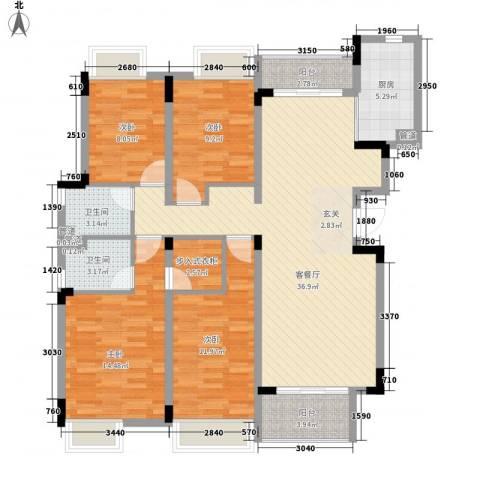 汉港凯旋城4室1厅2卫1厨146.00㎡户型图