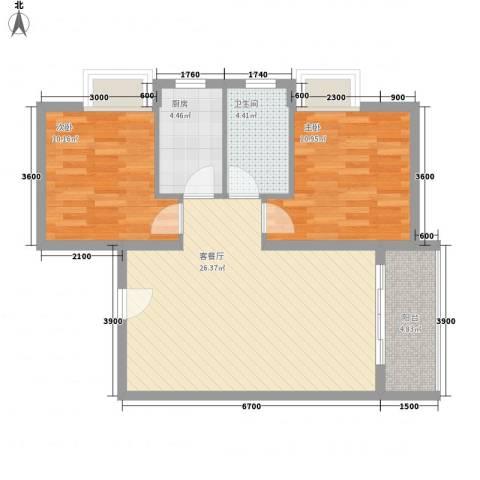 金东中环城2室1厅1卫1厨69.00㎡户型图