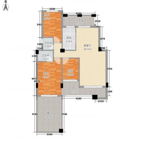 御景湾3室1厅2卫1厨92.11㎡户型图