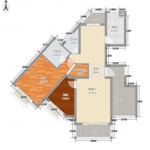 华翔世纪城2室1厅2卫1厨114.00㎡户型图