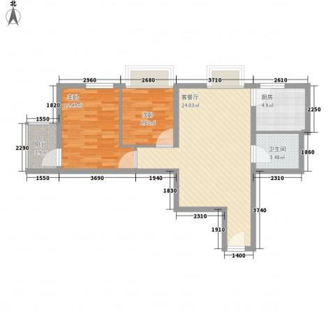 金东中环城2室1厅1卫1厨61.60㎡户型图