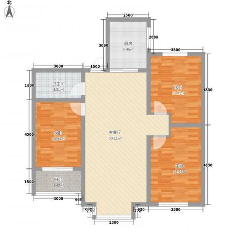 东方世纪城3室1厅1卫1厨119.00㎡户型图