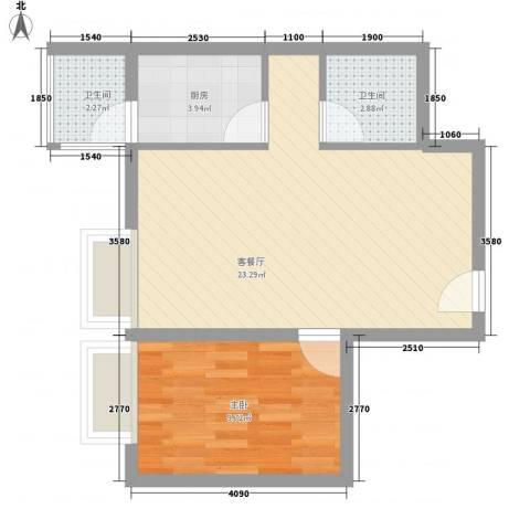 金东中环城1室1厅2卫1厨48.00㎡户型图
