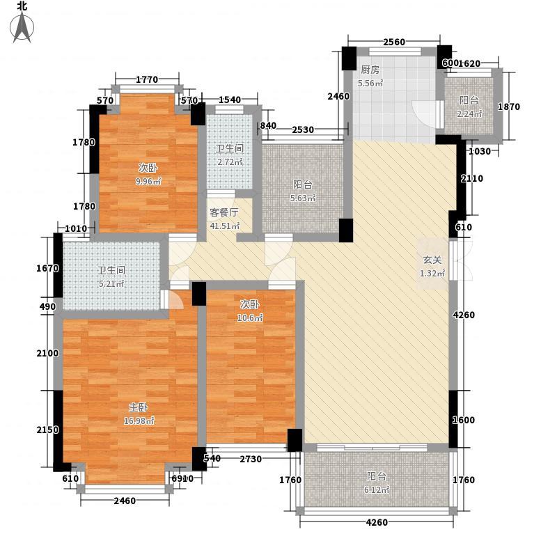 中房翡翠园121.70㎡C21栋翰林阁B户型3室2厅2卫1厨