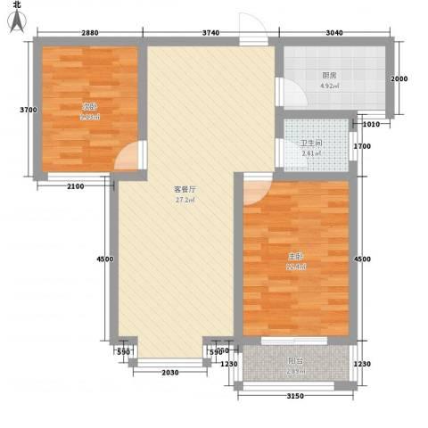 东方世纪城2室1厅1卫1厨90.00㎡户型图
