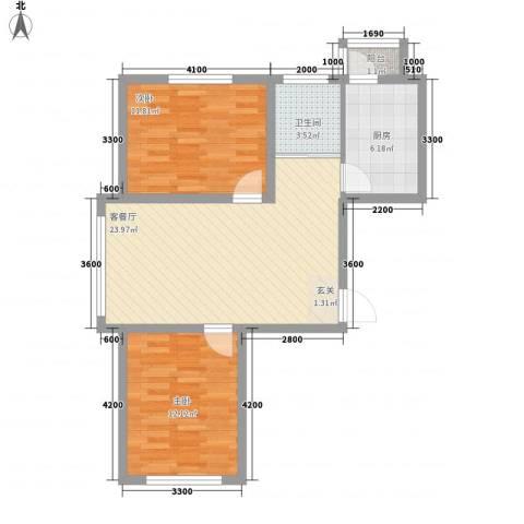昆玉府2室1厅1卫1厨84.00㎡户型图