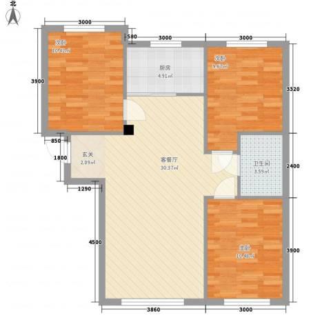 朝阳鸿盛世家3室1厅1卫1厨96.00㎡户型图