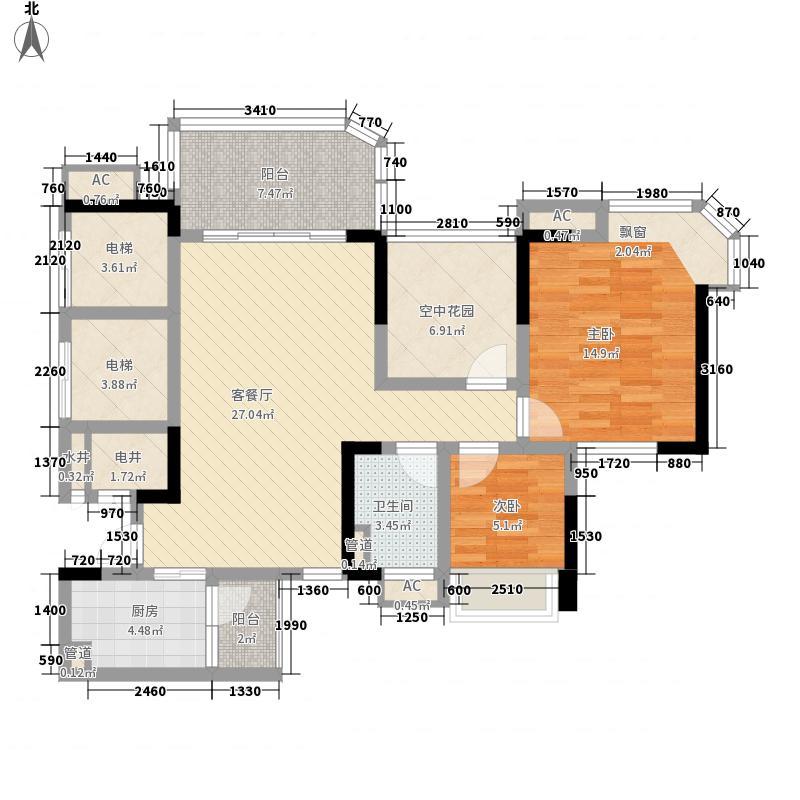 碧桂园翡翠山85.00㎡13栋二单元03户型2室2厅1卫1厨