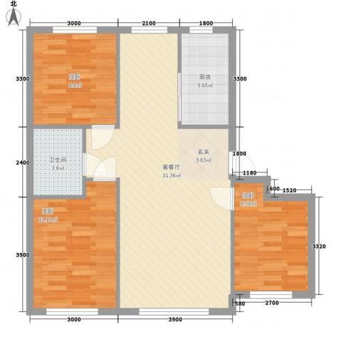 朝阳鸿盛世家3室1厅1卫1厨95.00㎡户型图