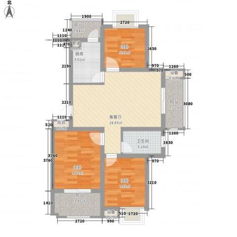 爱涛天逸园3室1厅1卫1厨87.00㎡户型图