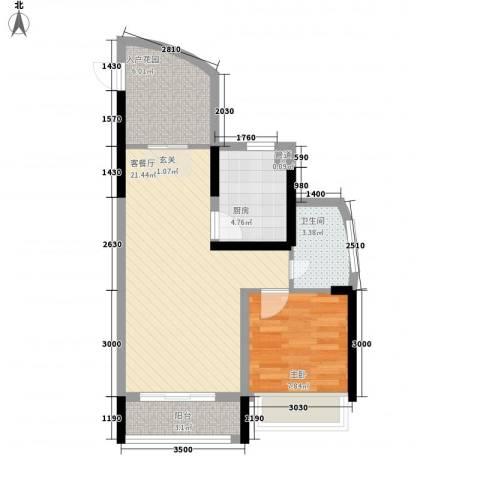 鸿洲・天玺1室1厅1卫1厨68.00㎡户型图