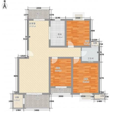 双湖景苑3室0厅1卫1厨141.00㎡户型图