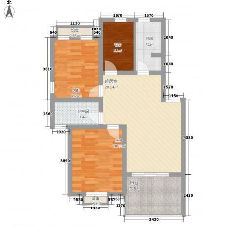玲珑湾花园3室0厅1卫1厨90.00㎡户型图