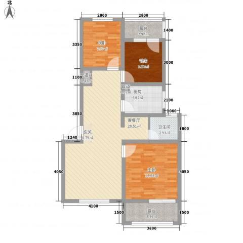 魅力之城3室1厅1卫1厨88.00㎡户型图