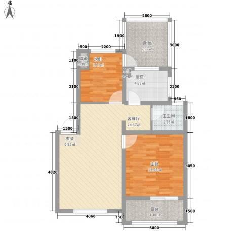 魅力之城2室1厅1卫1厨88.00㎡户型图