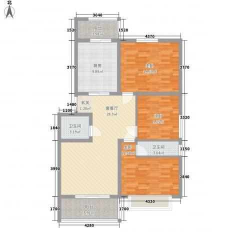 江泉・富力城3室1厅2卫1厨126.00㎡户型图