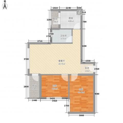 海杨城2室1厅1卫1厨86.00㎡户型图