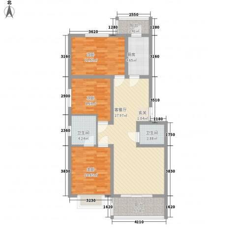 江泉・富力城3室1厅2卫1厨114.00㎡户型图