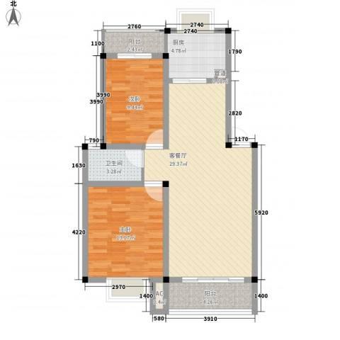 高林水乡花园2室1厅1卫1厨96.00㎡户型图