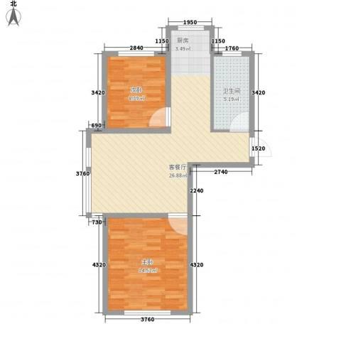 水岸新城2室1厅1卫0厨77.00㎡户型图
