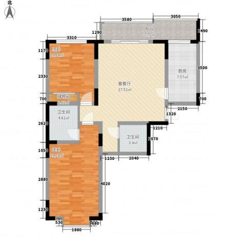 天赐园(和平区)2室1厅2卫1厨111.00㎡户型图