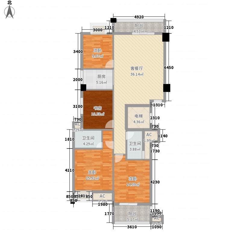 长盛锦江148.00㎡四居-观潮居户型4室2厅1卫1厨