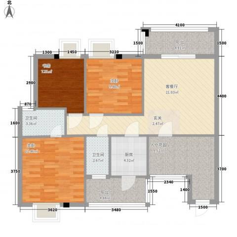钜隆金溪蓝湾3室1厅2卫1厨87.00㎡户型图