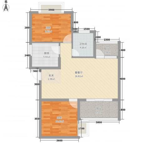 华翔世纪城2室1厅1卫1厨65.17㎡户型图