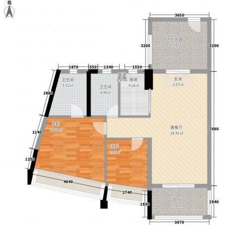 鸿洲・天玺2室1厅2卫1厨111.00㎡户型图