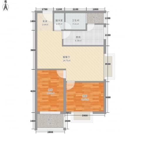 华翔世纪城2室1厅1卫1厨86.00㎡户型图